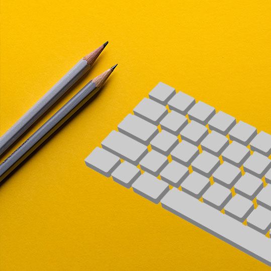 keyboard on yellow background